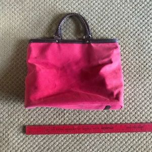 Cole Haan Red Canvas and Leather Large Tote